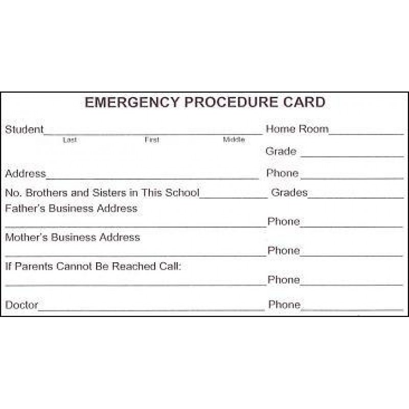 101 - Emergency Procedure Card - 3 x 5 Size