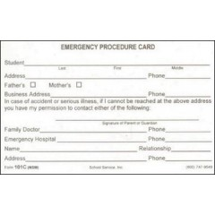 101C - Emergency Procedure Card
