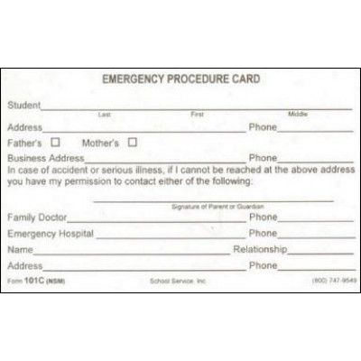 101C - Emergency Procedure Card - 3 x 5 Size