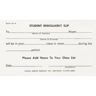 41A - Student Enrollment Slip - Padded Forms