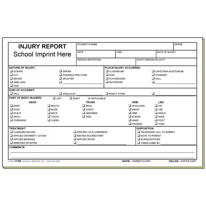 112N - Injury Report w/School Imprint - Carbonless Forms