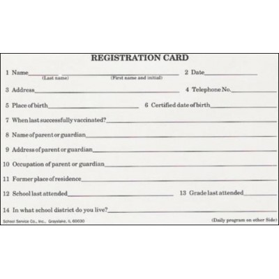 14A - Registration/Daily Program - Index Card Forms