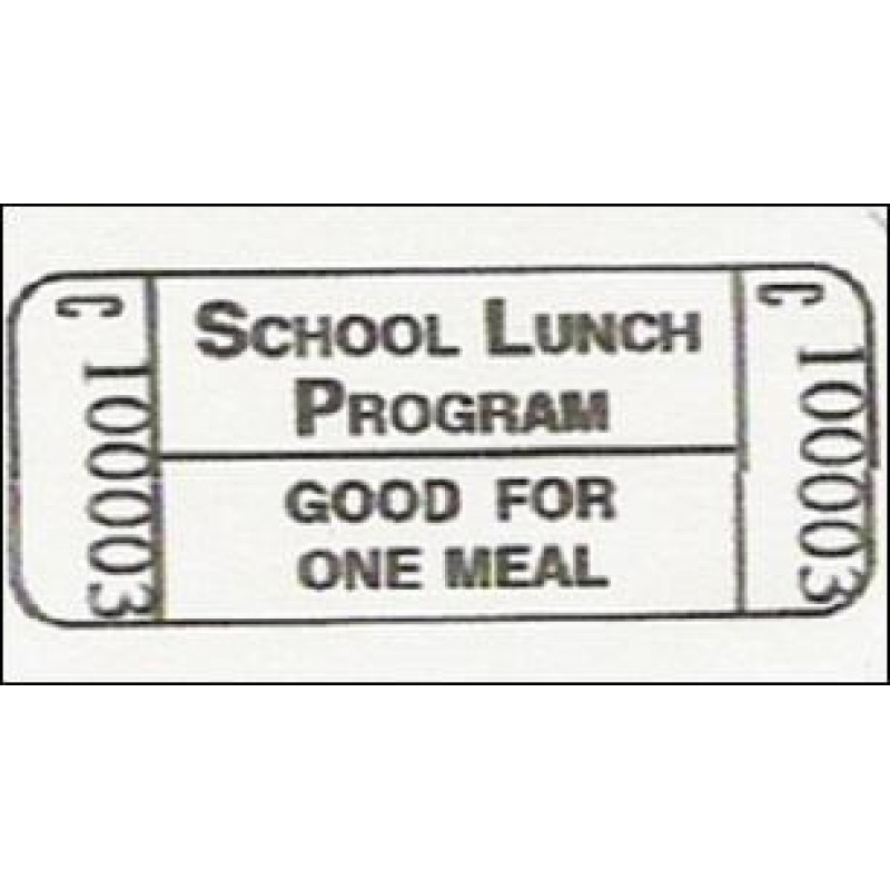 18X - No Alpha Prefix Lunch Roll Tickets - Roll Tickets
