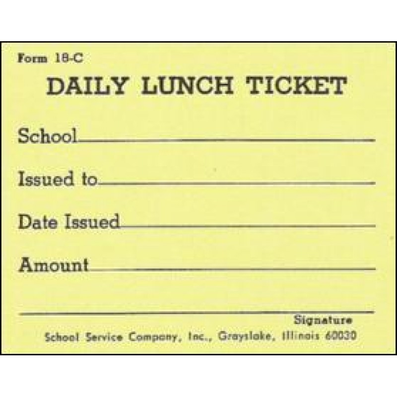 18C - Daily Lunch Ticket - Punch Tickets