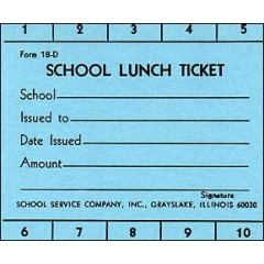 18D - 10 Punch School Lunch Ticket