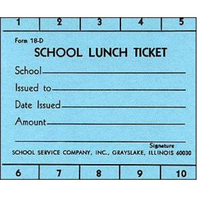 18D - 10 Punch School Lunch Ticket - Punch Tickets