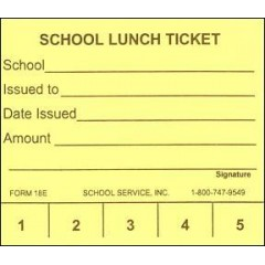 18E - 5 Punch School Lunch Ticket