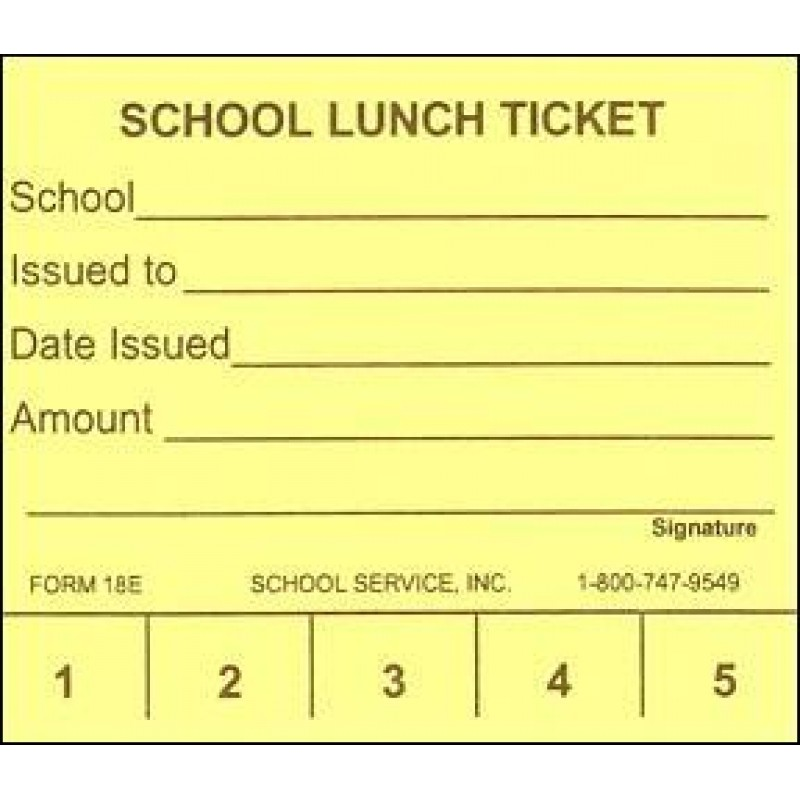 18E - 5 Punch School Lunch Ticket - Punch Tickets