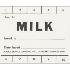 18H - 10 Punch School Milk Ticket