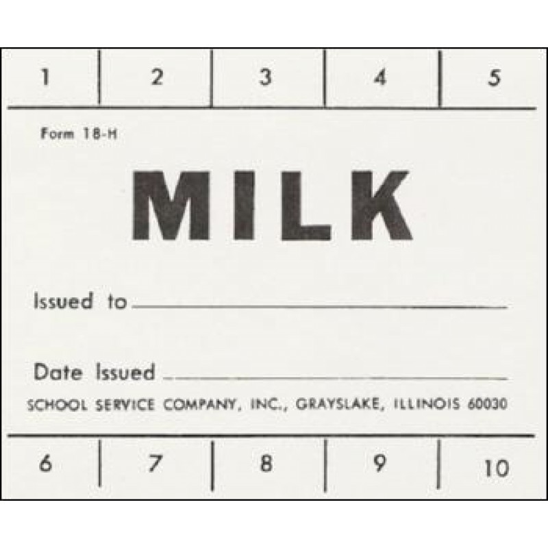 18H - 10 Punch School Milk Ticket - Punch Tickets