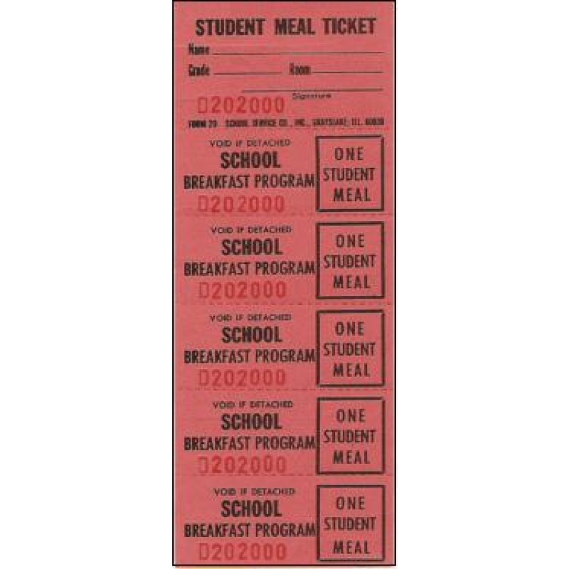 20D, 20E, 20F Breakfast Strip Tickets - Strip Tickets