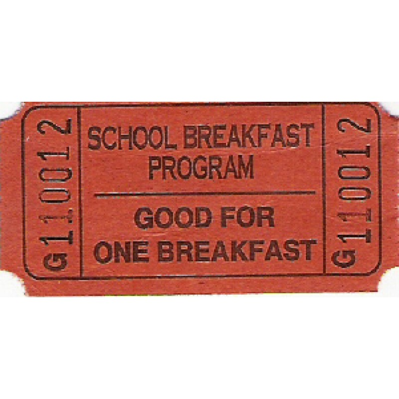 20C - J Prefix Breakfast Roll Tickets - Roll Tickets