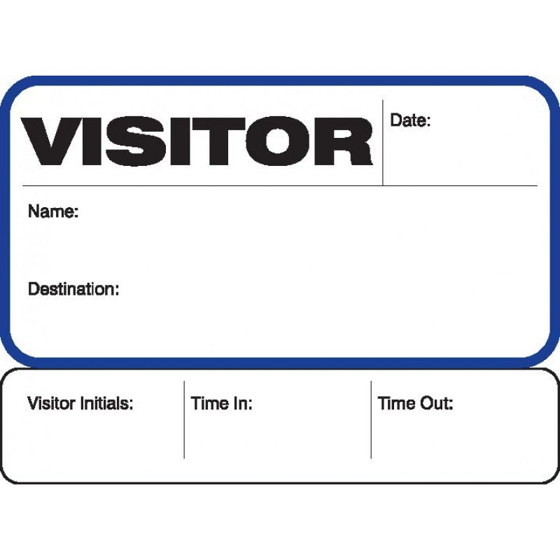 702 - Stock Visitor Label Badges Book with Sign-Out Stub - Stock Visitor Label Registry Books
