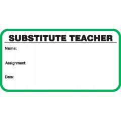 706 - Stock Substitute Teacher Label Badges Book