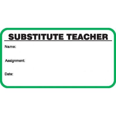 706 - Stock Substitute Teacher Label Badges Book - Stock Visitor Label Registry Books