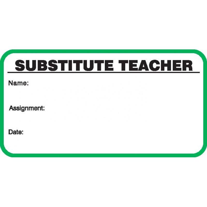 706 - Stock Substitute Teacher Label Badges Book - Stock Visitor Label Registry Books