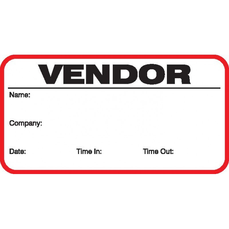 708 - Stock Vendor Label Badges Book - Stock Visitor Label Registry Books