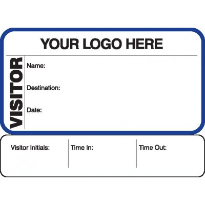 711 - Visitor Label Badges Book with Sign-Out Stub - Visitor Label Registry Books