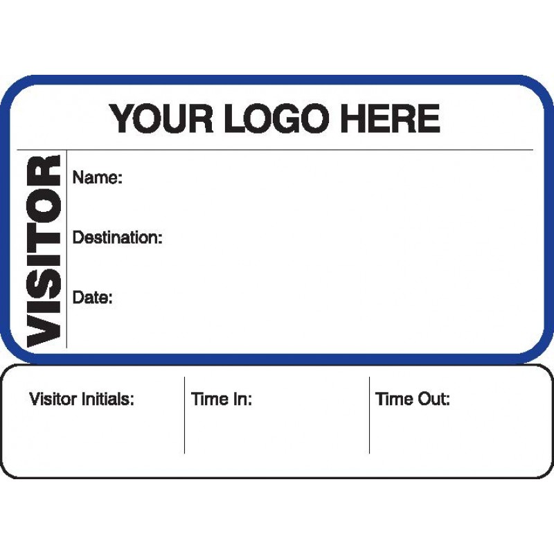 711 - Visitor Label Badges Book with Sign-Out Stub - Visitor Label Registry Books