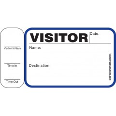 716 - Stock Visitor Label Badges Book with Side Sign-Out Stub
