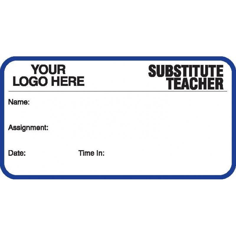 746 - Substitute Teacher Label Badges Book - Visitor Label Registry Books