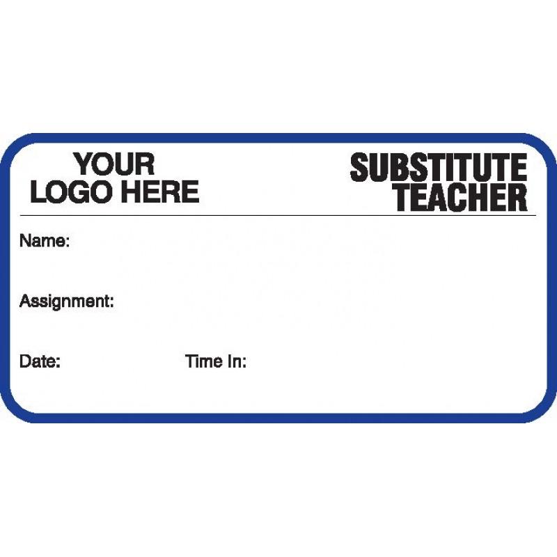 746 - Substitute Teacher Label Badges Book - Visitor Label Registry Books