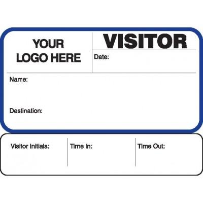 755 - Visitor Label Badges Book with Sign-Out Stub - Visitor Label Registry Books