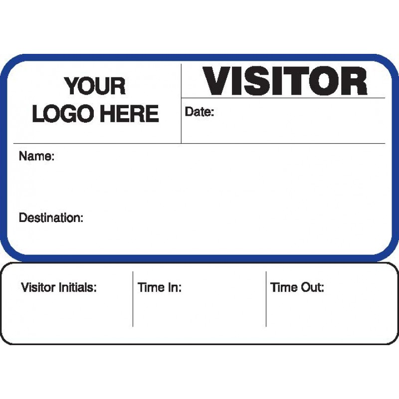 755 - Visitor Label Badges Book with Sign-Out Stub - Visitor Label Registry Books