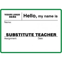 756 - Large Substitute Teacher Label Badges Book