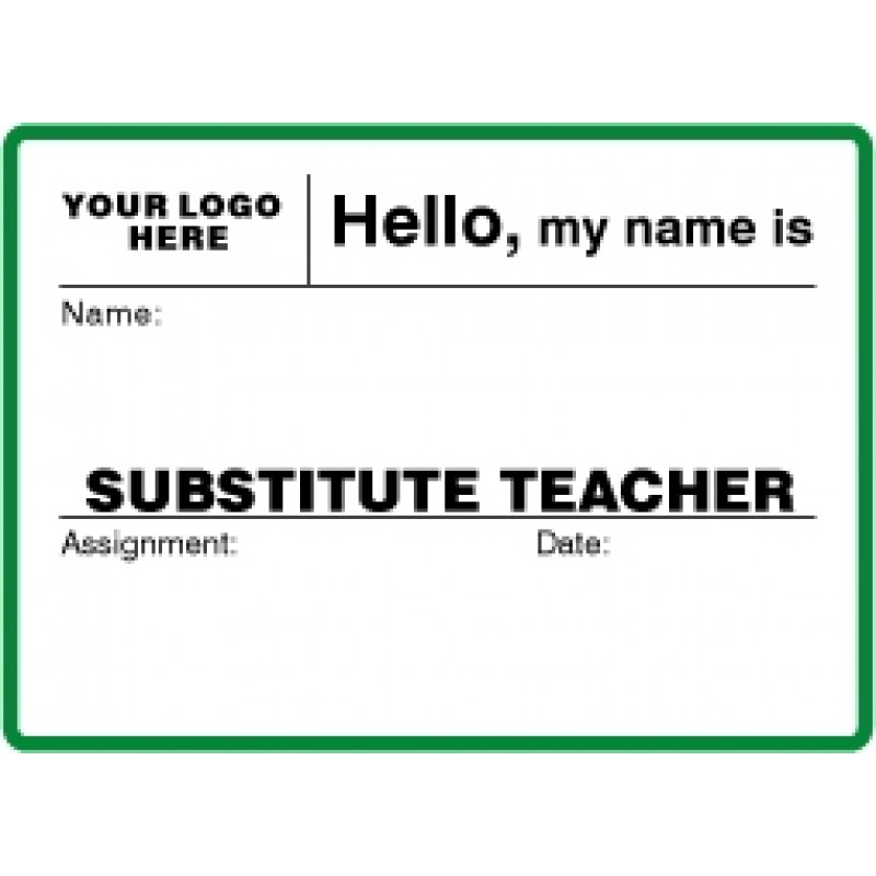 756 - Large Substitute Teacher Label Badges Book - Visitor Label Registry Books