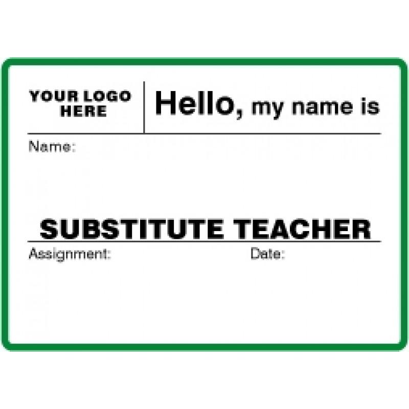 756 - Large Substitute Teacher Label Badges Book - Visitor Label Registry Books