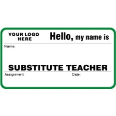 758X - Substitute Teacher Label Badges Book