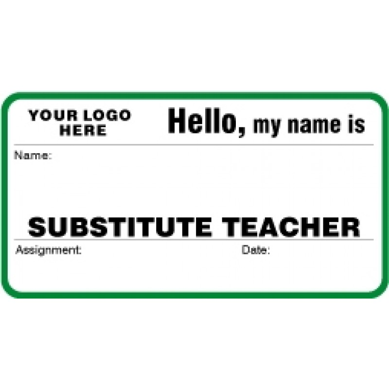 758X - Substitute Teacher Label Badges Book - Visitor Label Registry Books