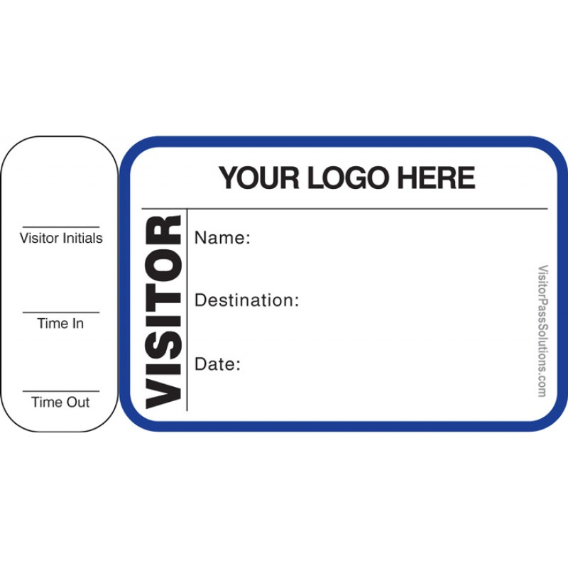 761 - Visitor Label Badges Book with Side Sign-Out Stub - Visitor Label Registry Books