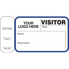 763 - Visitor Label Badges Book with Side Sign-Out Stub