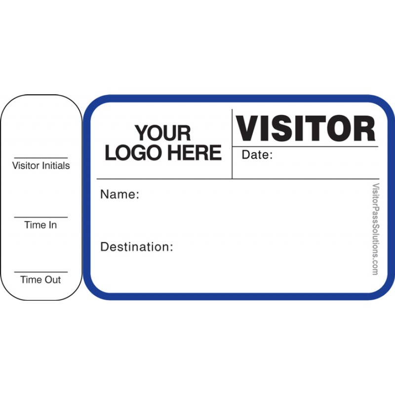 763 - Visitor Label Badges Book with Side Sign-Out Stub - Visitor Label Registry Books