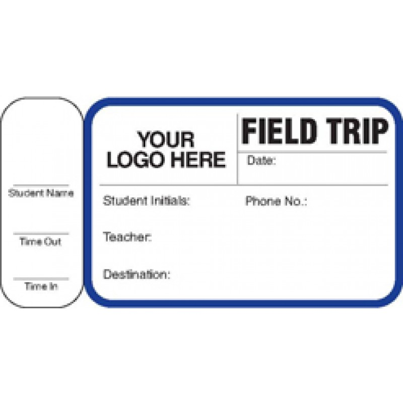764S - Field Trip Label Badges Book with Side Sign-Out Stub (150 Badges) - Visitor Label Registry Books