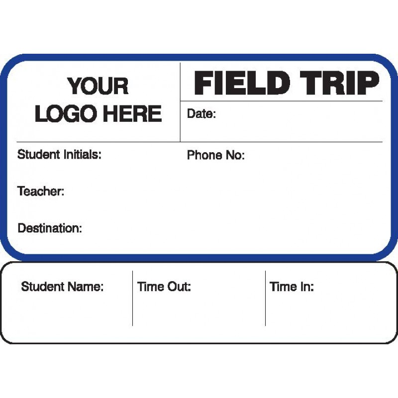 773 - Field Trip Label Badges Book with Sign-Out Stub - Visitor Label Registry Books