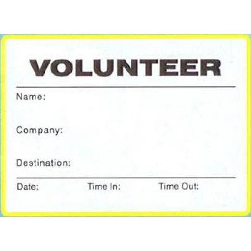 776 - Large Volunteer Label Badges Book - Visitor Label Registry Books