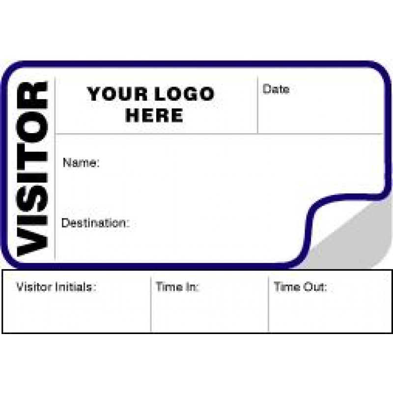 792 - Visitor Label Badges Book with Sign-Out Stub - Visitor Label Registry Books