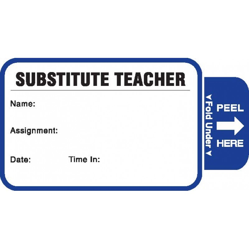 811-SUB - Stock Expiring Substitute Teacher Label Badges Book - One Day Visitor Label Registry Books