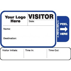 814 - Expiring Visitor Label Badges Book with Sign-Out Stub