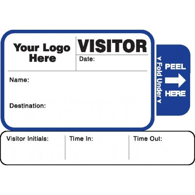 814 - Expiring Visitor Label Badges Book with Sign-Out Stub - One Day Visitor Label Registry Books