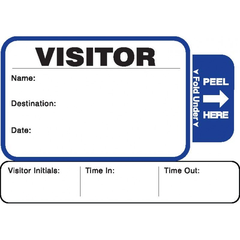 816 - Stock Expiring Visitor Label Badges Book with Sign-Out Stub - One Day Visitor Label Registry Books