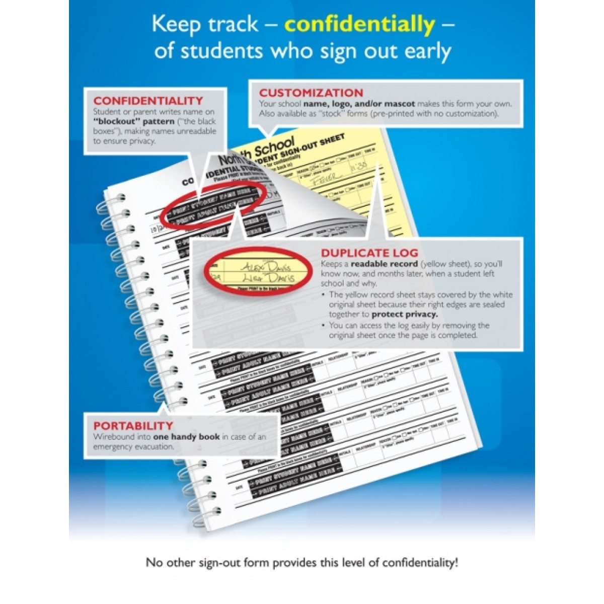 110 im confidential student sign out book confidential student