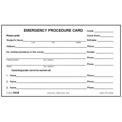 101R - Emergency Procedure Card - 3 x 5 Size