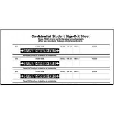 109-SK - Stock Confidential Student Sign-Out Book - Confidential Student Sign-Out Books