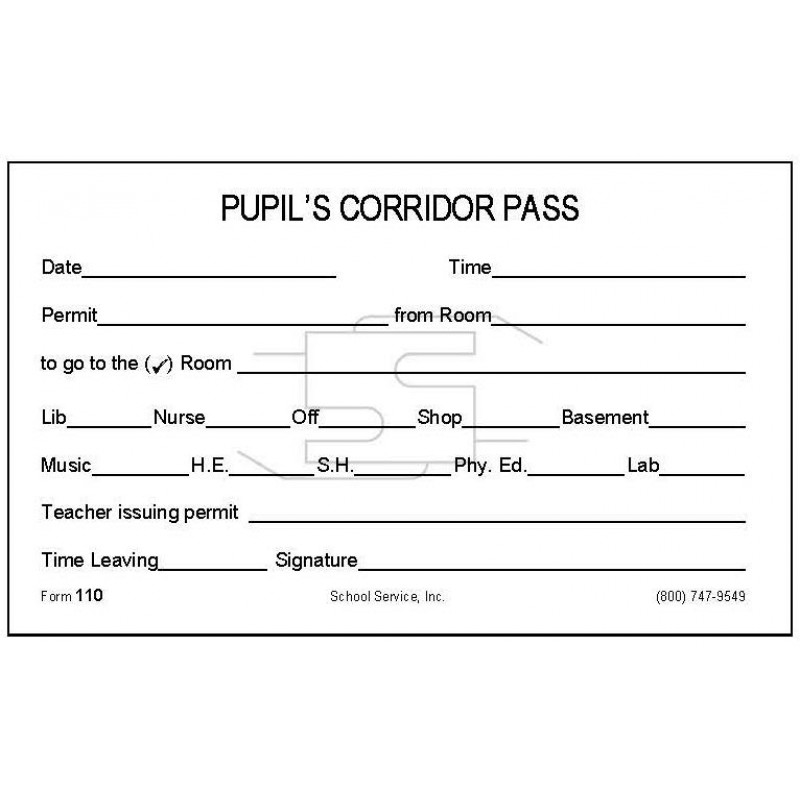 110 - Pupil s Corridor Pass - Padded Forms