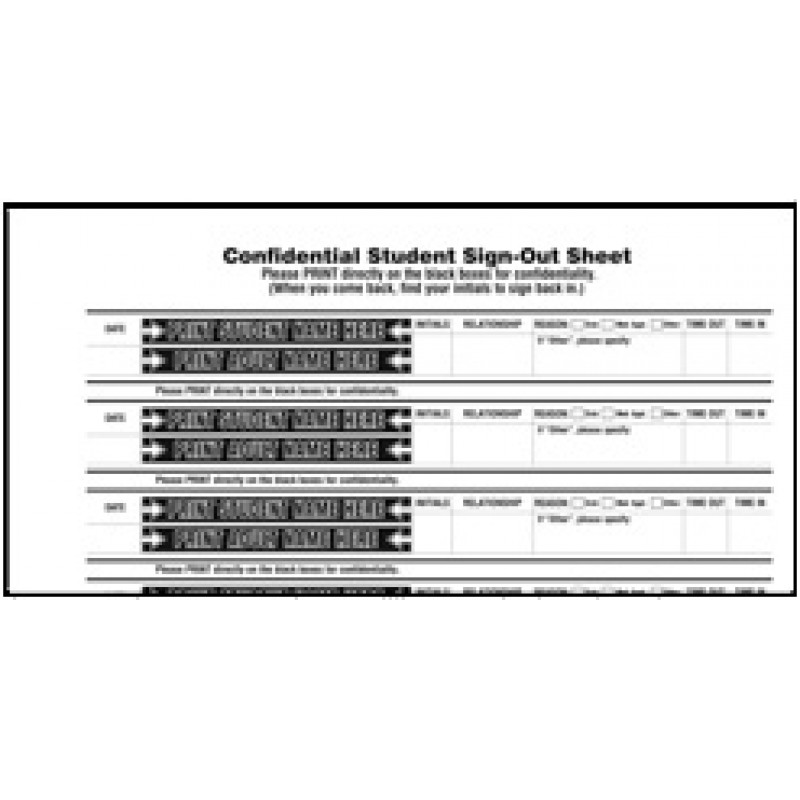 110-SK - Stock Confidential Student Sign-Out Book - Confidential Student Sign-Out Books
