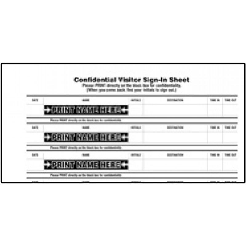 112-SK - Stock Confidential Visitor Sign-In Book - Stock Visitor Label Registry Books